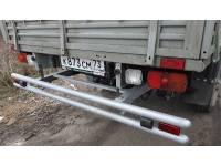 Задняя защита-ограничитель УАЗ-ПРОФИ сдвоенная с резиновыми отбойниками, катафотами